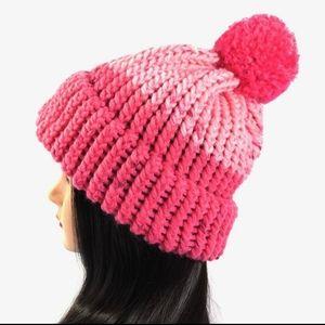 Chunky Knit Pom Pom Beanie Pink Brim Hat